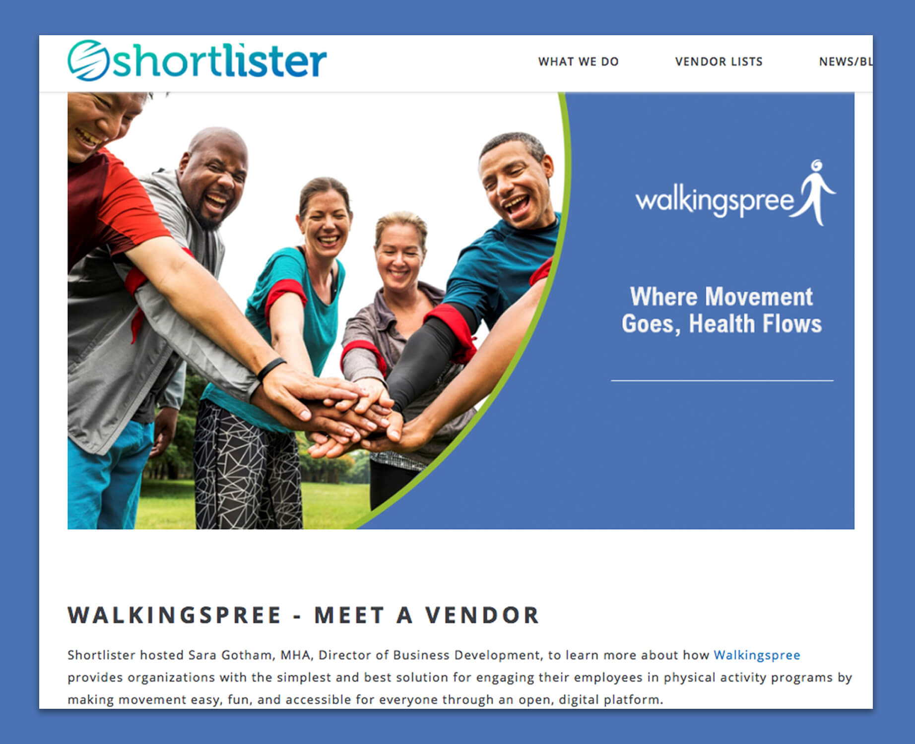 "Walkingspree – ""Meet A Vendor""  on Shortlister"