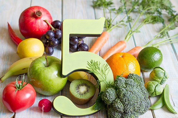 5 with fruits and vegetables